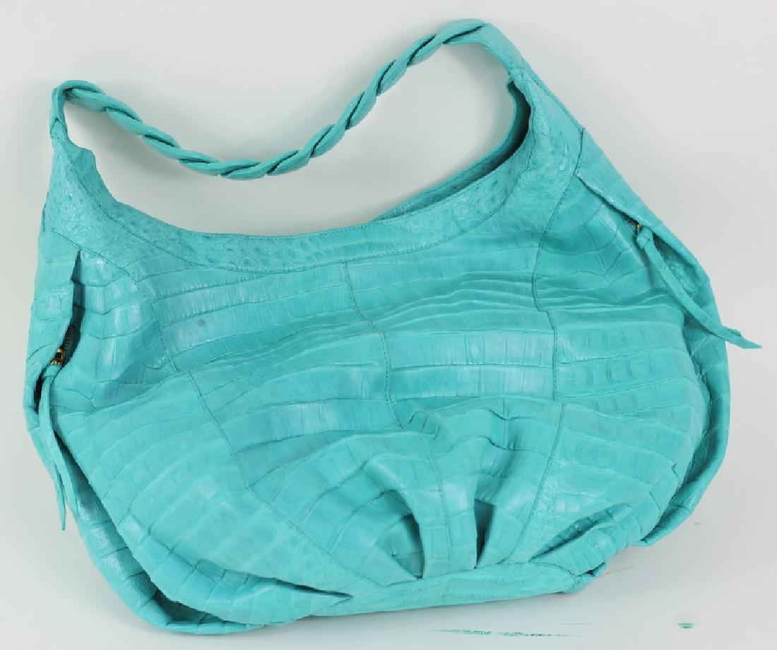 Nancy Gonzalez Turquoise Crocodile Hand Bag Purse - 3