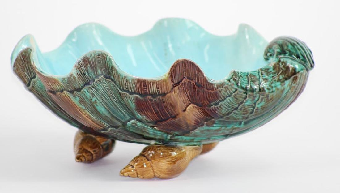 Large majolica Shell Center bowl.