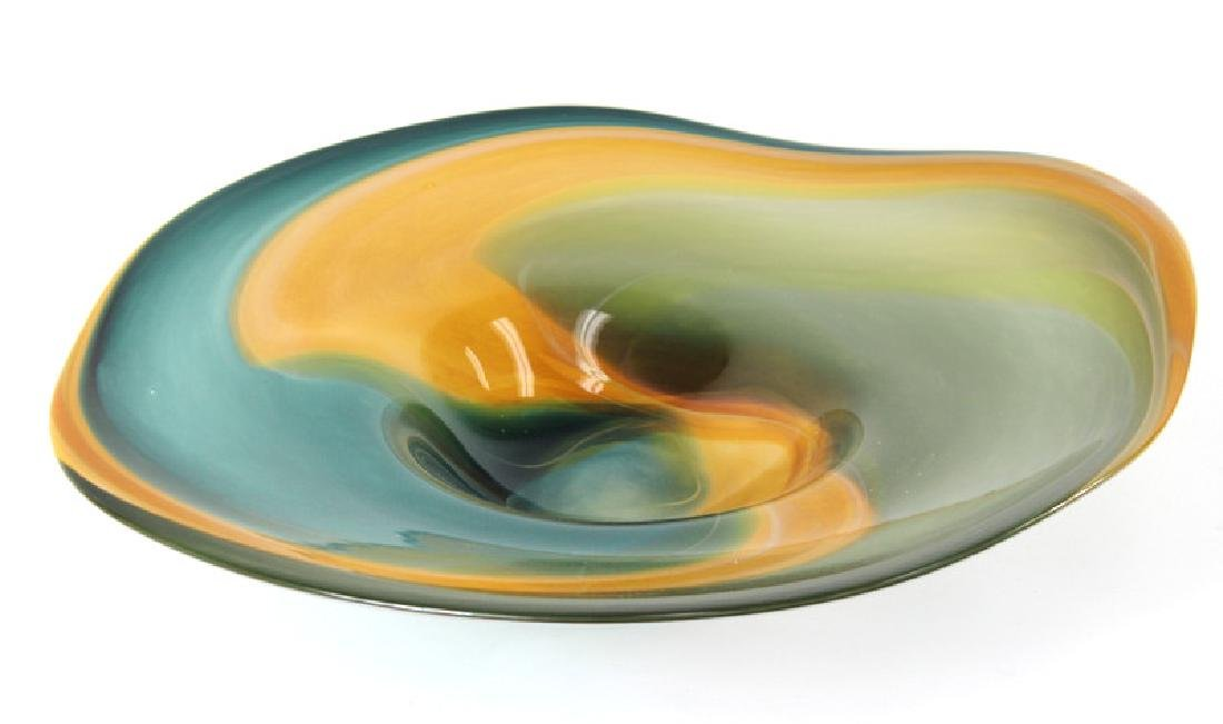 large, artglass signed bowl.