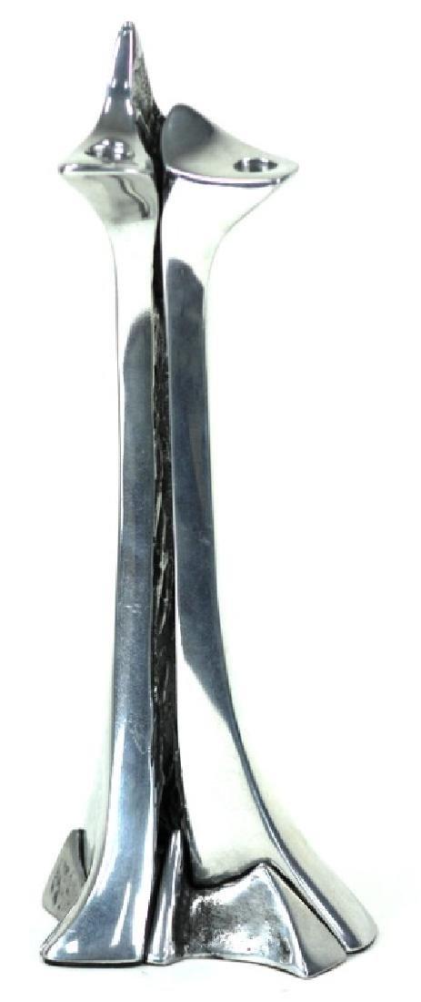 Contemporary 3 Piece Chrome Candlestick - 2