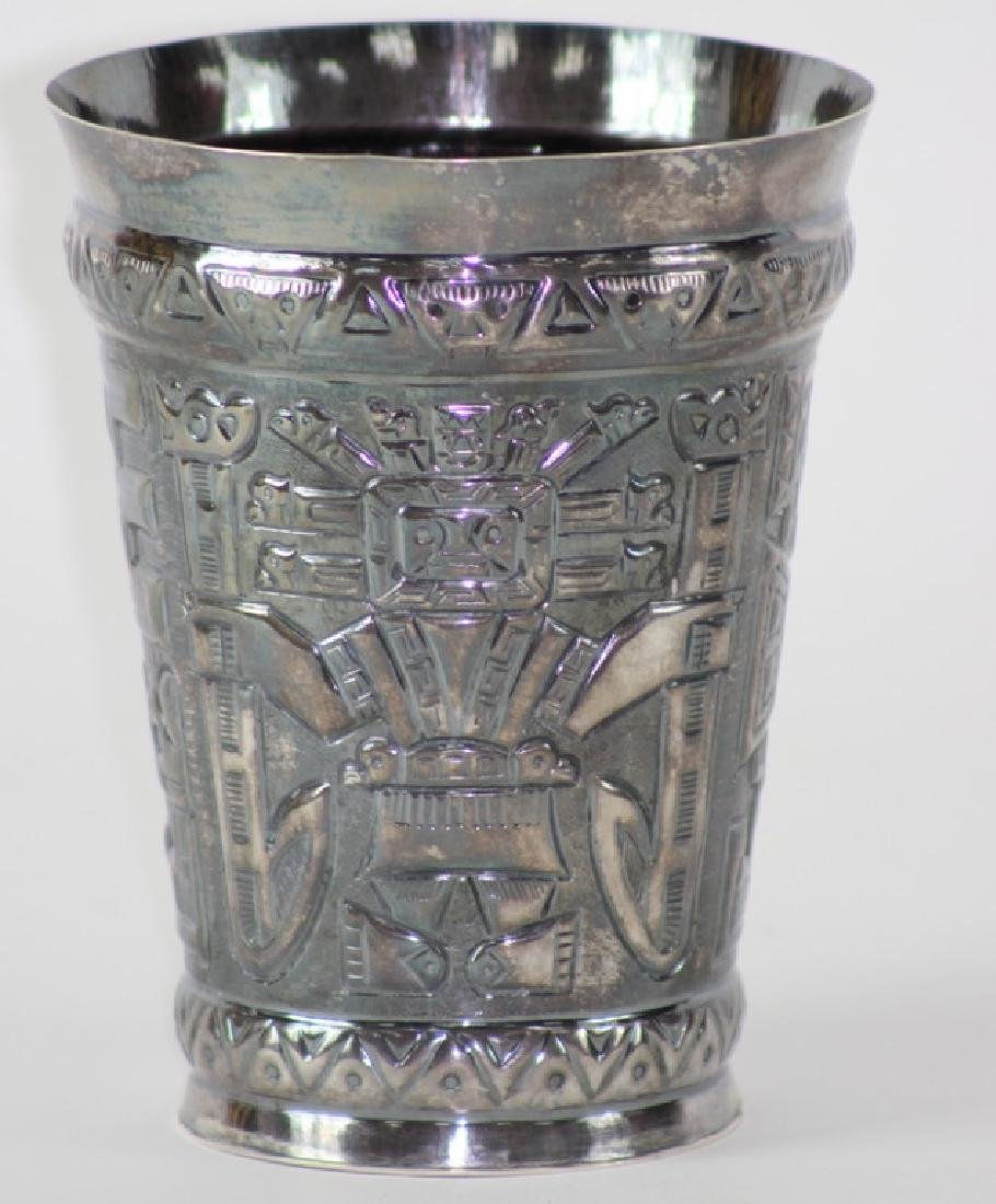 Sterling Silver Peru Figural Trangle Vase.