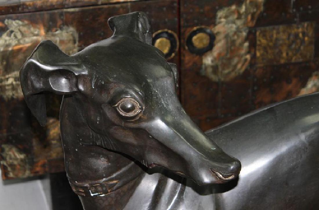 Greyhound Dog Bronze Sculpture. Large, Heavy. - 2