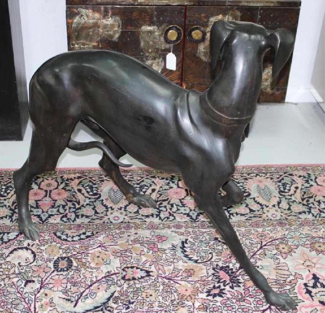 Greyhound Dog Bronze Sculpture. Large, Heavy. - 3