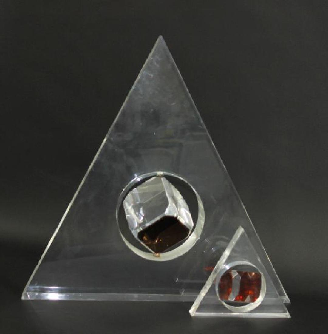 2 Large Lucite Trigangle Floating Cube Sculptures.