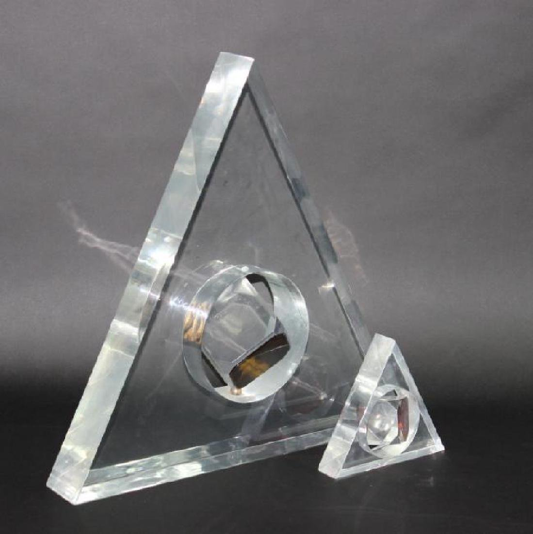 2 Large Lucite Trigangle Floating Cube Sculptures. - 2
