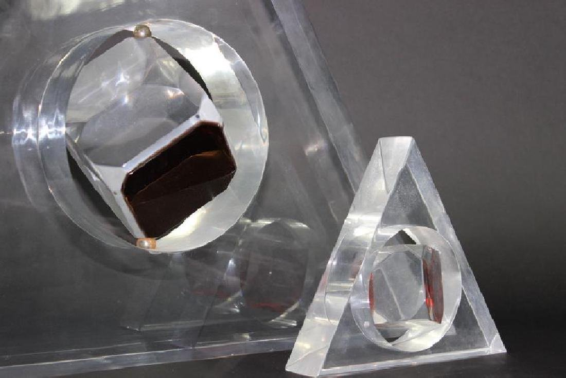 2 Large Lucite Trigangle Floating Cube Sculptures. - 4