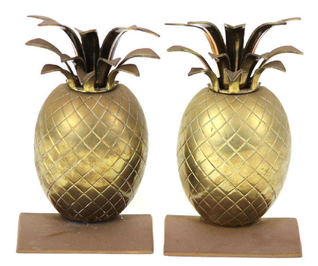 Pair of Vintage Brass Vintage Pineapple Bookends - 4