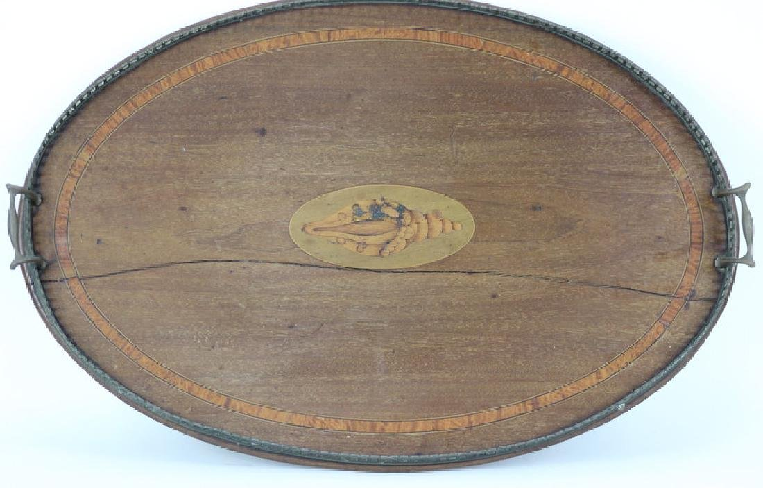 English Brass Mounted Wood Serving Tray