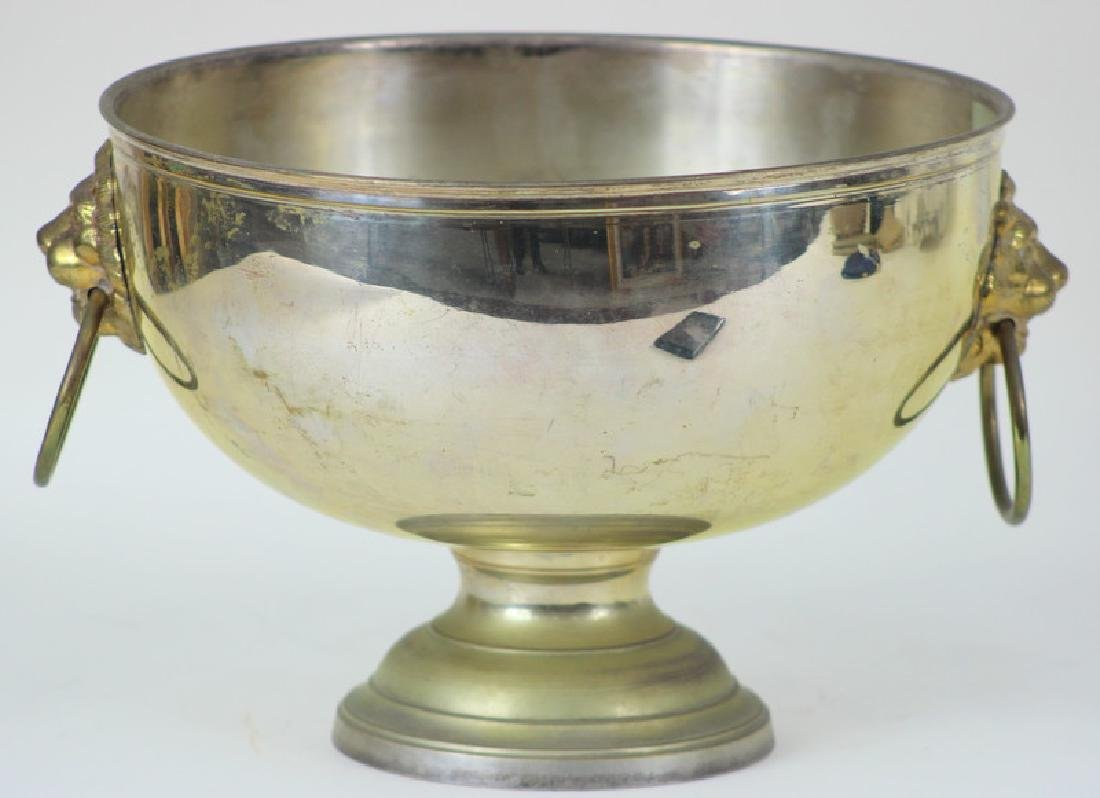 Large Silver Plated Lyon Footed Center Vase.