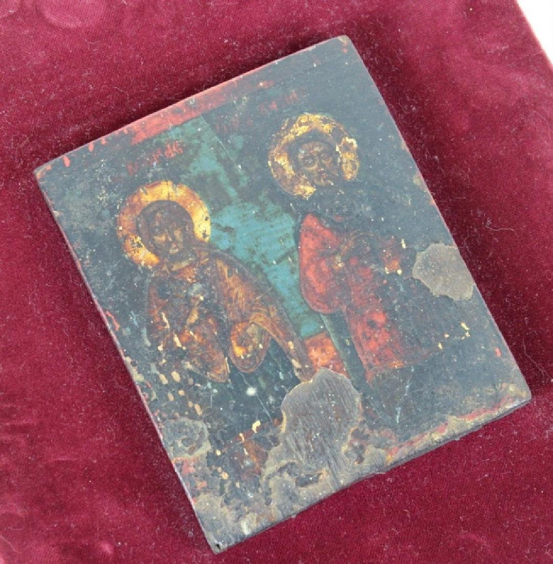 Russian Icon on Velvet Frame - 4