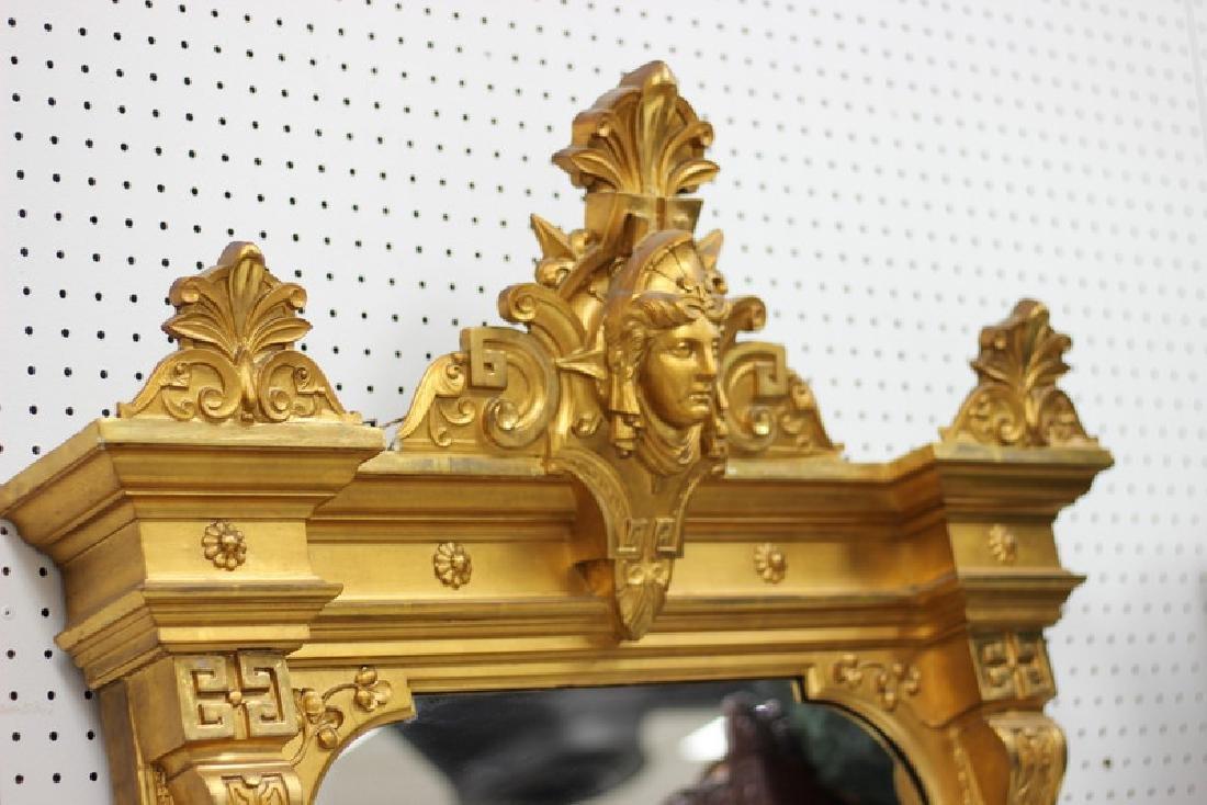 7ft. Victorian Gilt Painted Medusa Head Mirror - 3