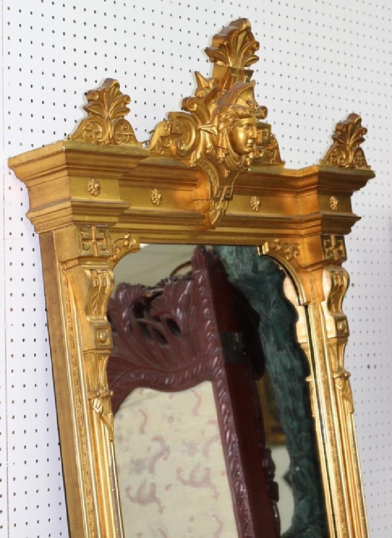7ft. Victorian Gilt Painted Medusa Head Mirror - 4