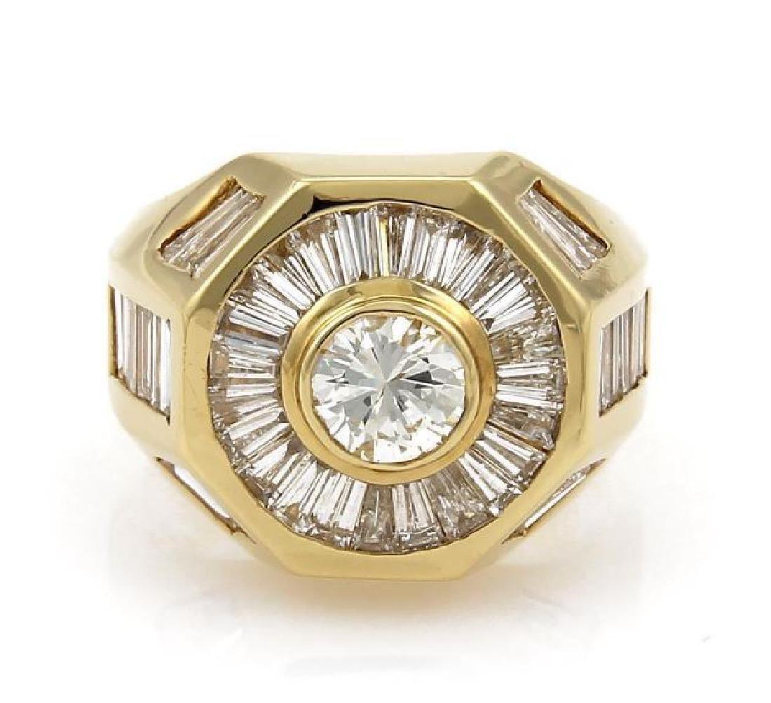5.40ct Diamond 18k Gold Octagon Shape Ring