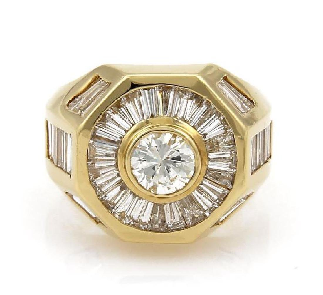 5.40ct Diamond 18k Gold Octagon Shape Ring