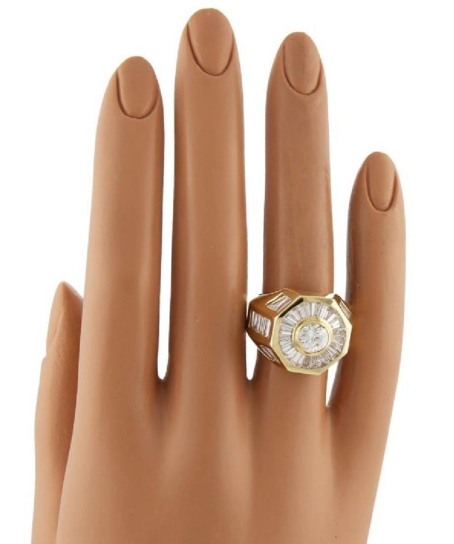 5.40ct Diamond 18k Gold Octagon Shape Ring - 4