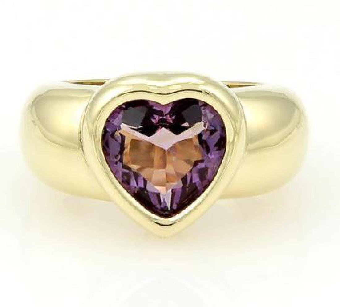 Piaget 18k Gold Heart Shape Amethyst Gemstone Ring