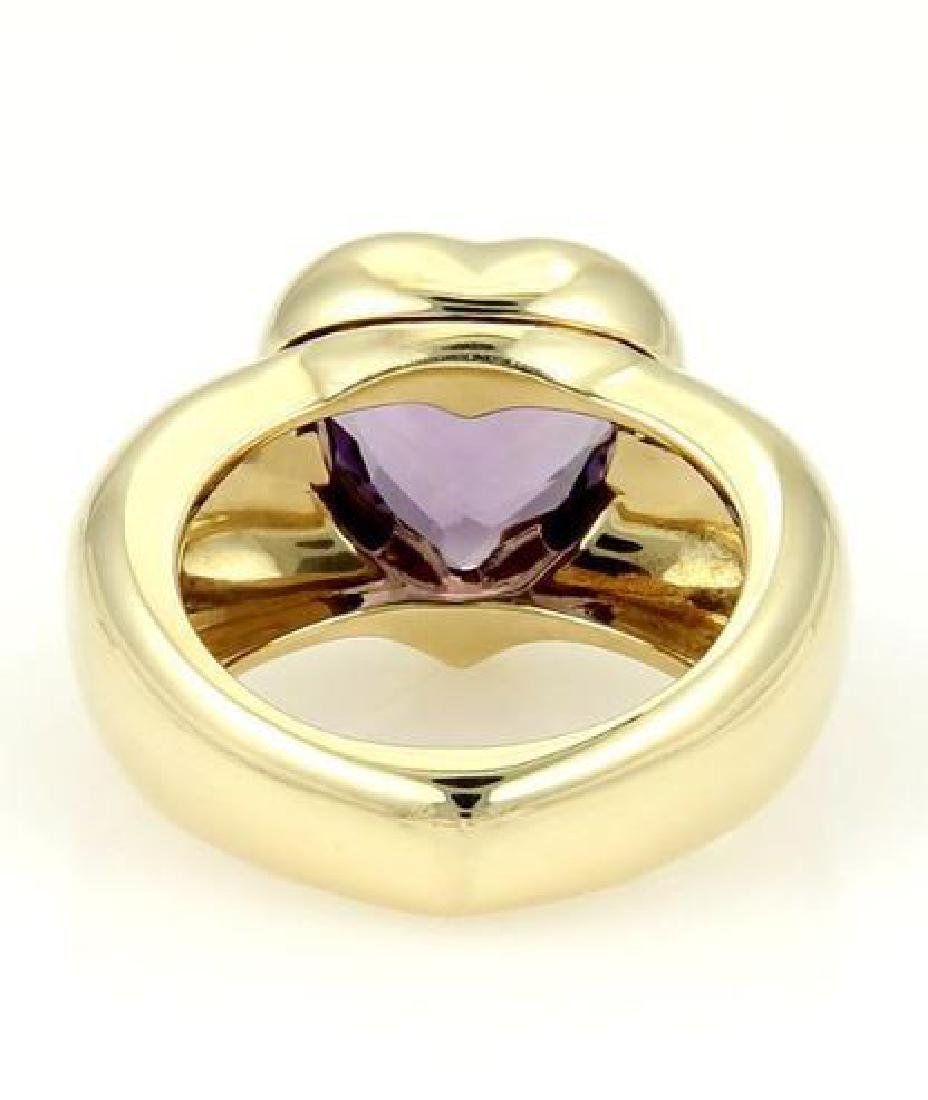 Piaget 18k Gold Heart Shape Amethyst Gemstone Ring - 3