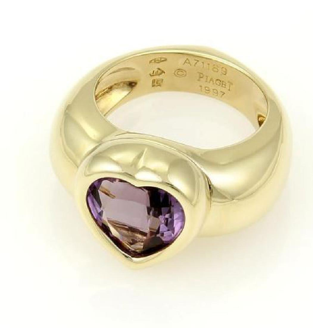 Piaget 18k Gold Heart Shape Amethyst Gemstone Ring - 4