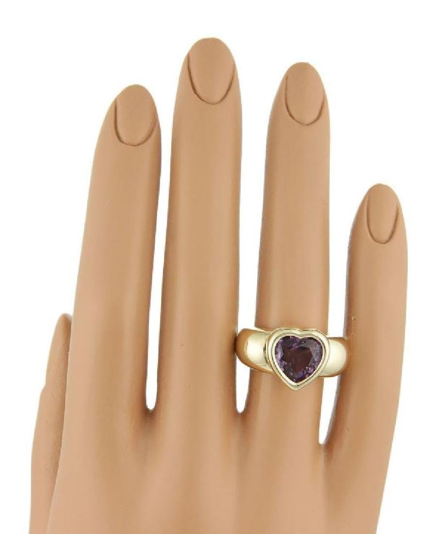 Piaget 18k Gold Heart Shape Amethyst Gemstone Ring - 5