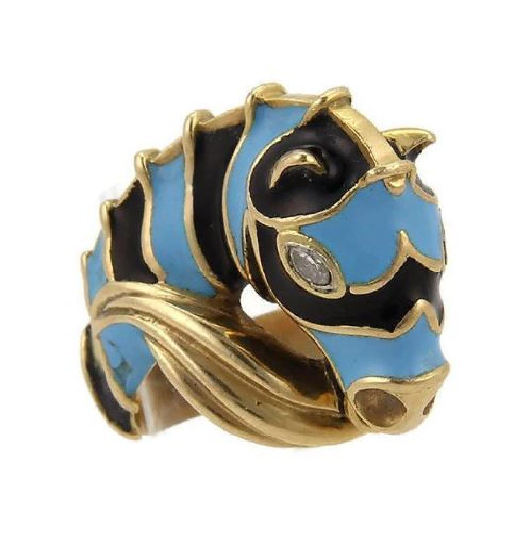 Diamond 18k Yellow Gold Blue Enamel Horse Ring