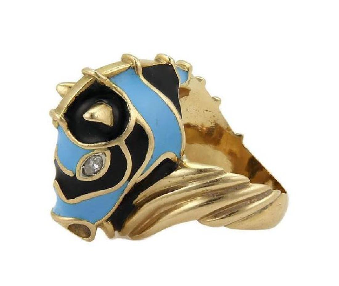 Diamond 18k Yellow Gold Blue Enamel Horse Ring - 3