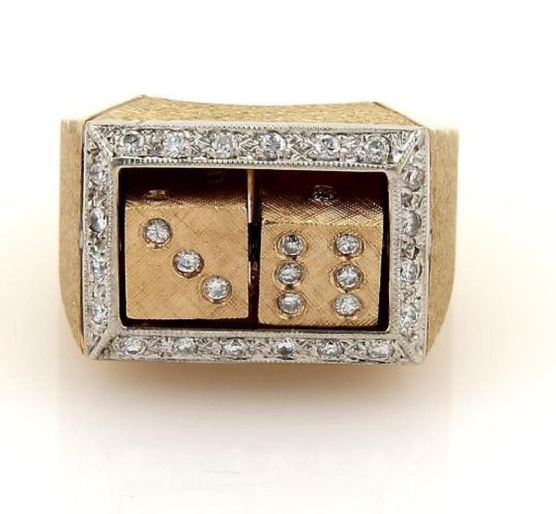 Diamond 14k Gold Spinning Dice Gambler Ring
