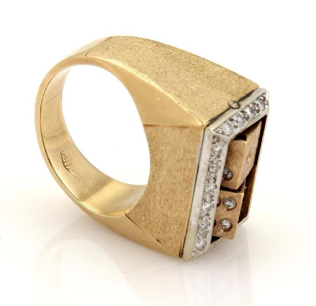 Diamond 14k Gold Spinning Dice Gambler Ring - 5