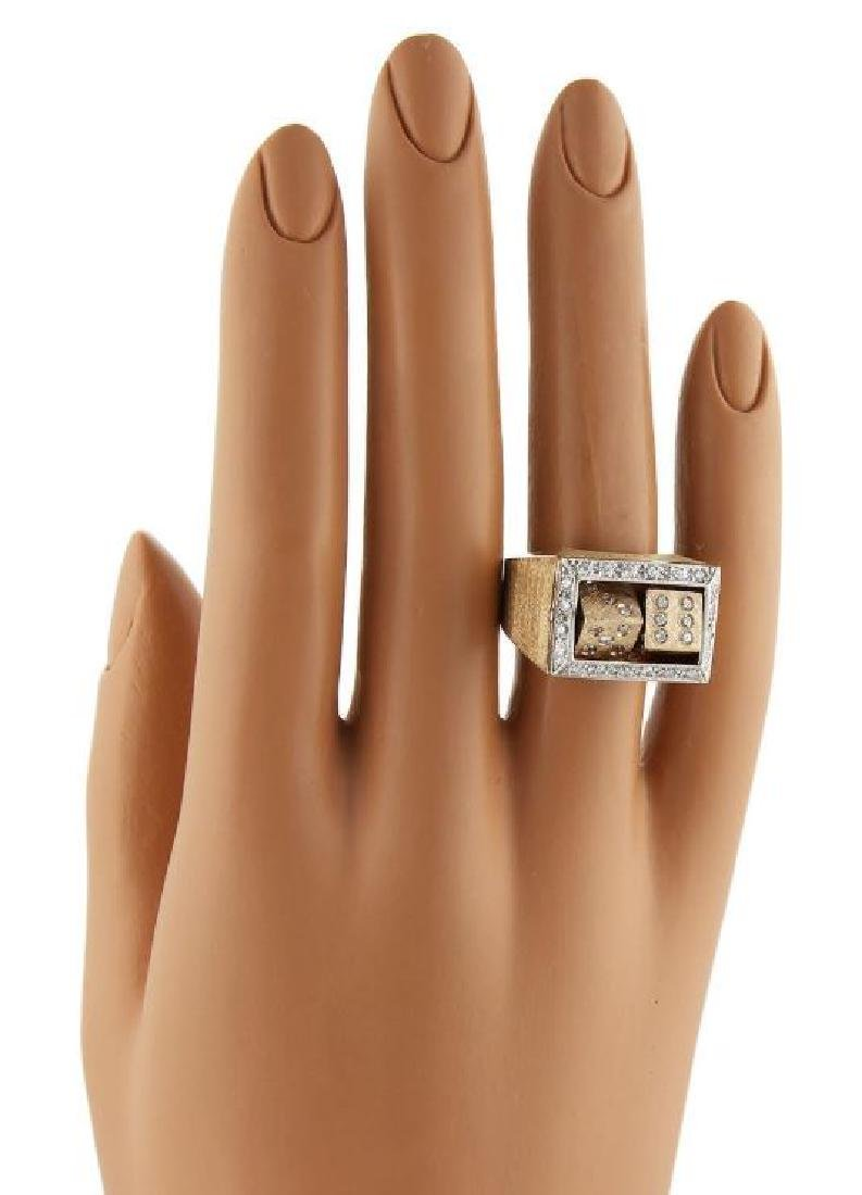 Diamond 14k Gold Spinning Dice Gambler Ring - 6