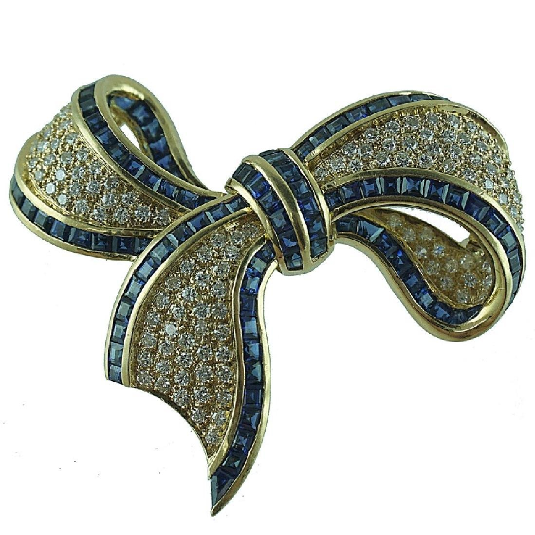 18 Karat Fred Paris Diamond & Sapphire Bow Ribbon