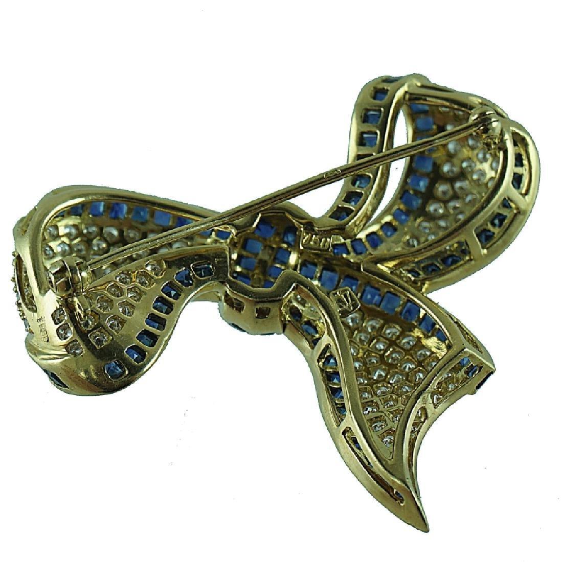 18 Karat Fred Paris Diamond & Sapphire Bow Ribbon - 2
