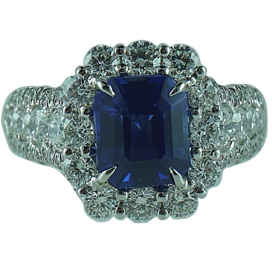 GIA Certified, Emerald Cut Sapphire & Diamond Ring