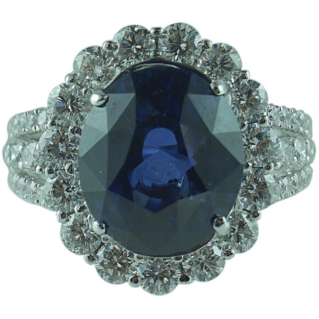 AGL Certified,8.41CT Sapphire. 2.12CT Diamond Ring