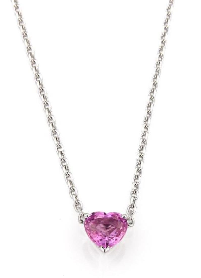 Cartier Sapphire 18k Gold Heart Pendant Necklace