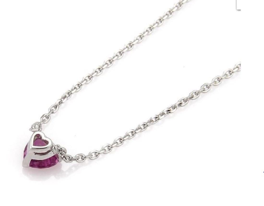 Cartier Sapphire 18k Gold Heart Pendant Necklace - 3