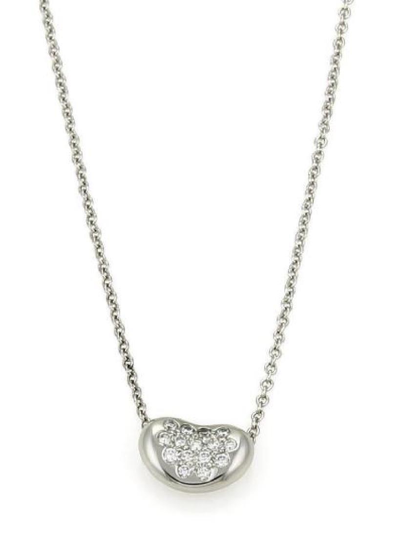 Tiffany&Co Diamond Platinum Bean Pendant Necklace