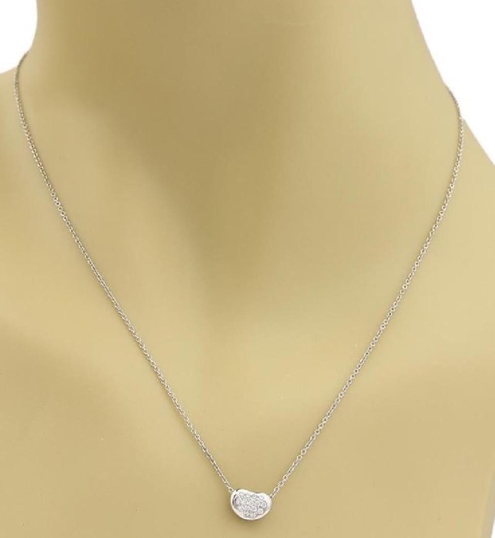 Tiffany&Co Diamond Platinum Bean Pendant Necklace - 2