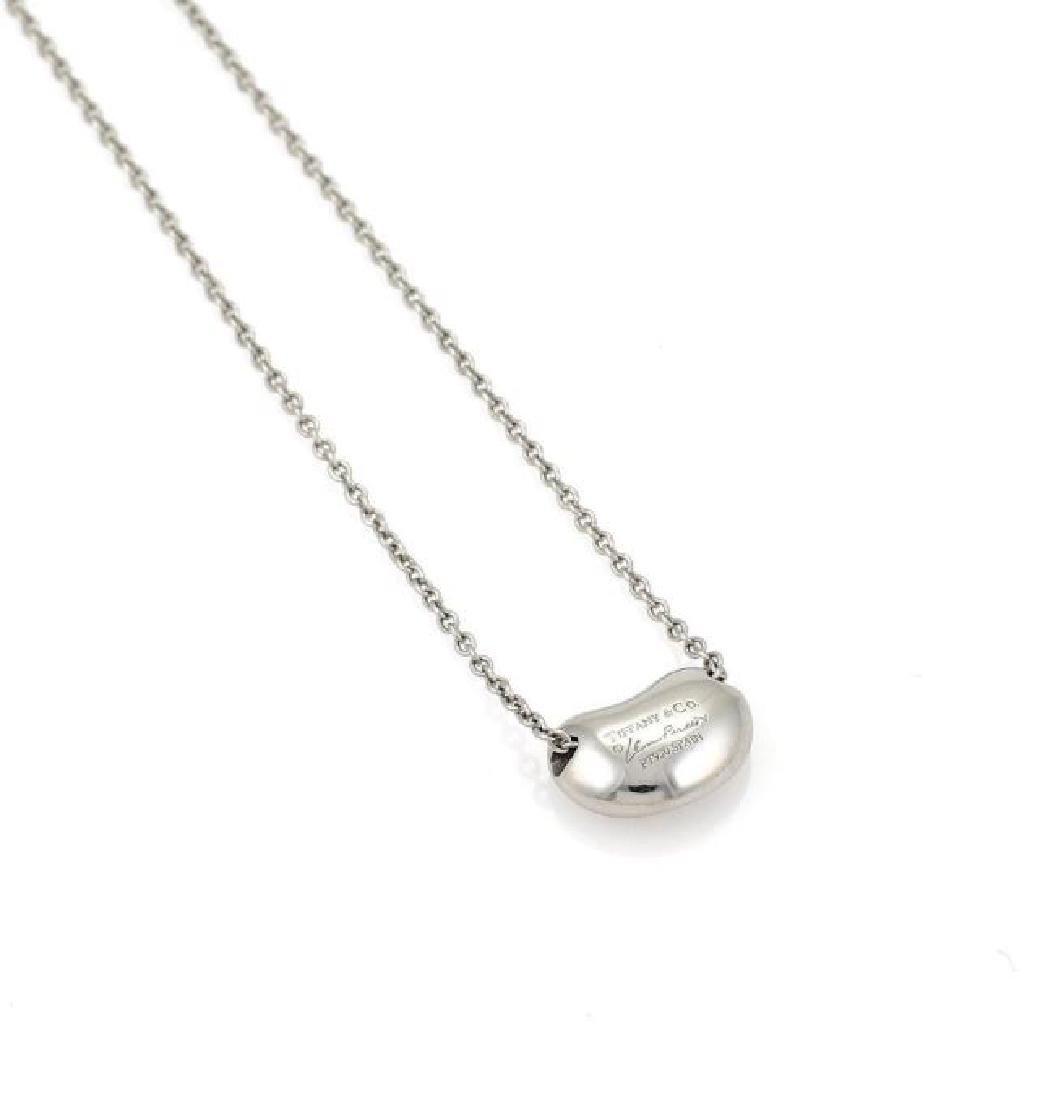 Tiffany&Co Diamond Platinum Bean Pendant Necklace - 4
