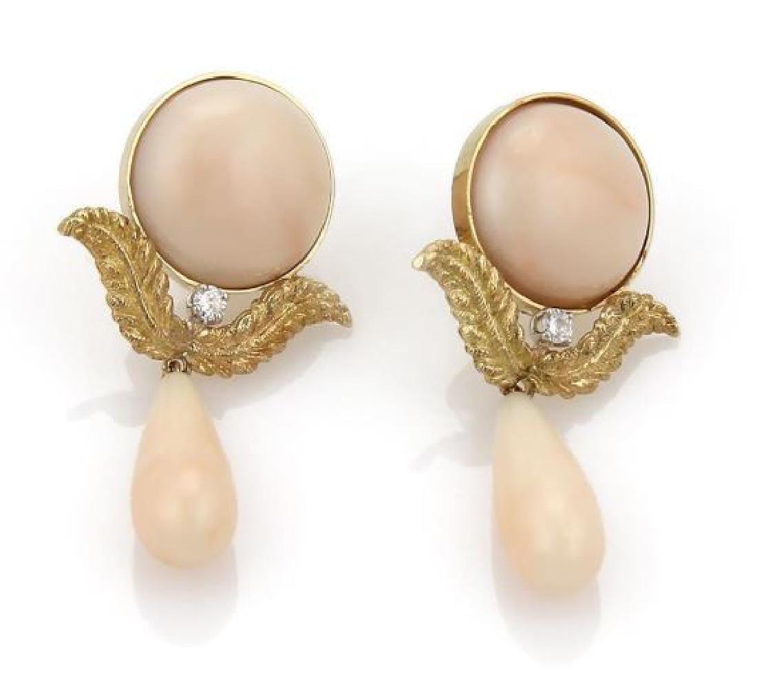 Diamond 18k Gold Angel Skin Coral Dangle Earrings