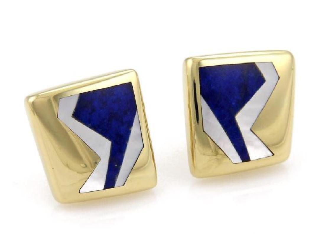 Tiffany & Co Mother of Pearl 18k Gold Geo Earrings