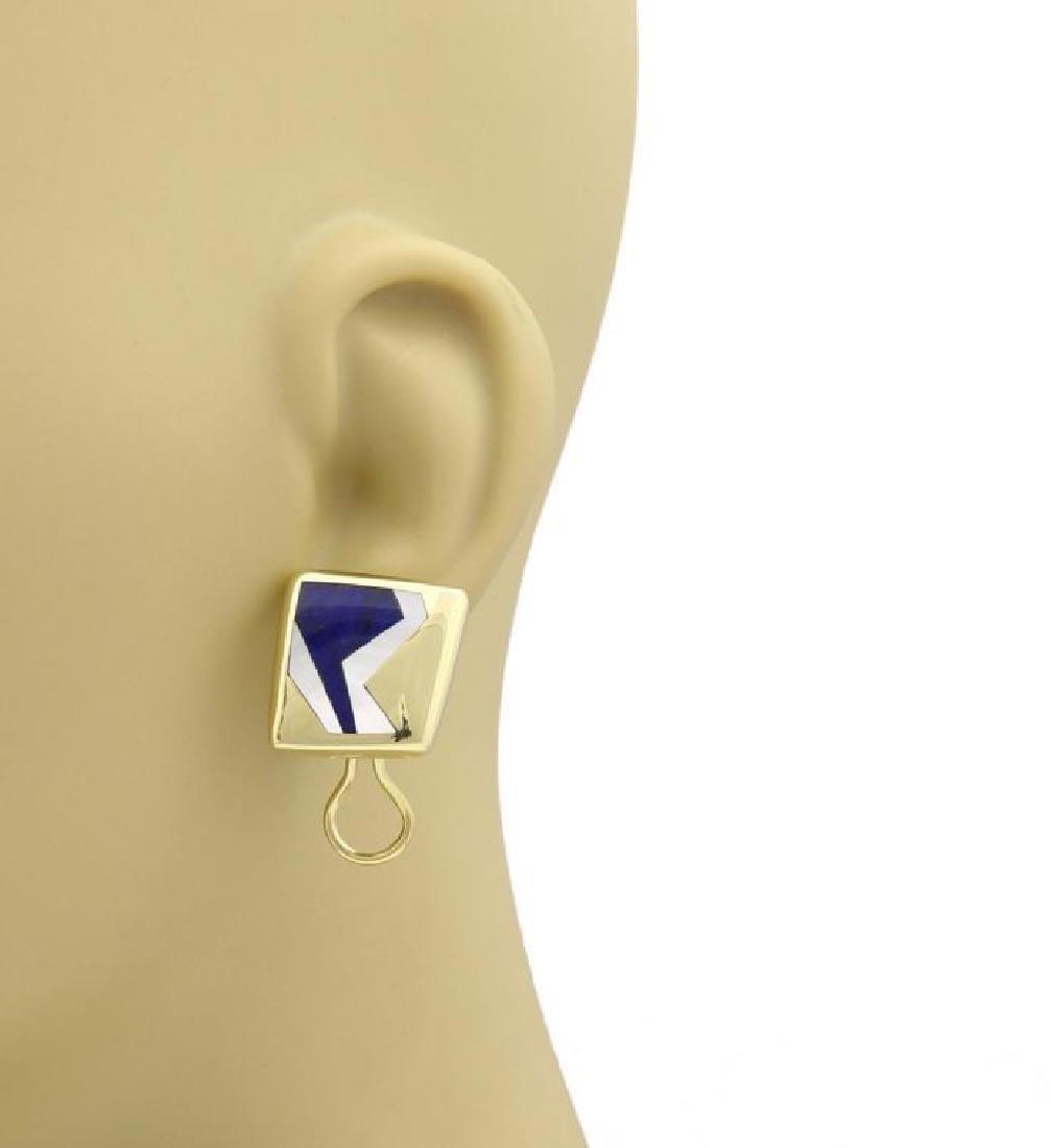 Tiffany & Co Mother of Pearl 18k Gold Geo Earrings - 2