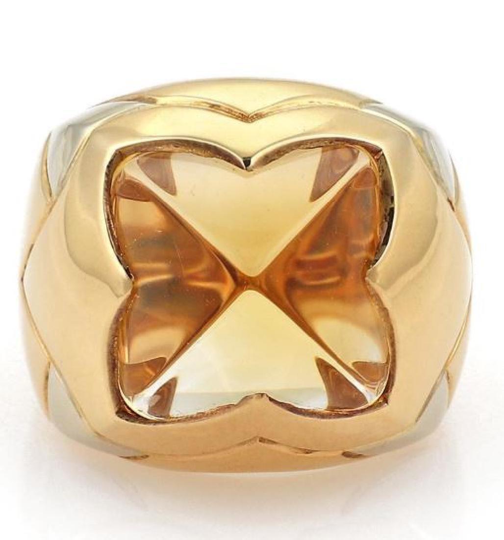 Bvlgari Pyramide Citrine 18k Gold Floral Ring