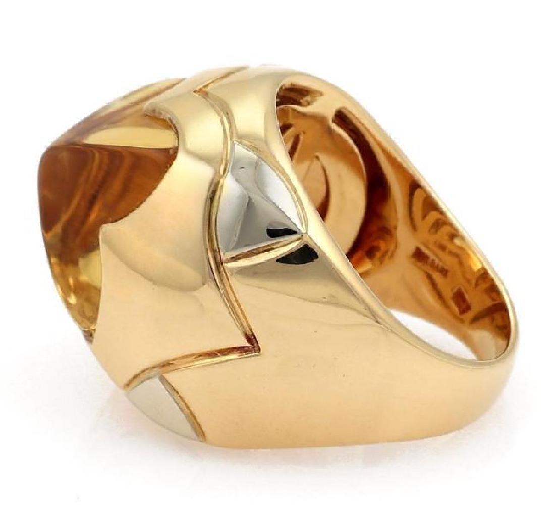 Bvlgari Pyramide Citrine 18k Gold Floral Ring - 2