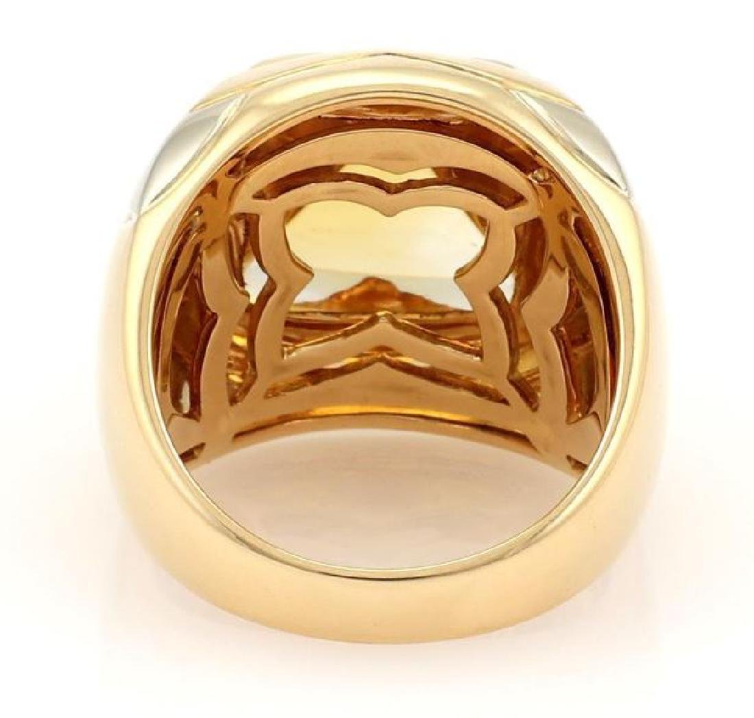 Bvlgari Pyramide Citrine 18k Gold Floral Ring - 3