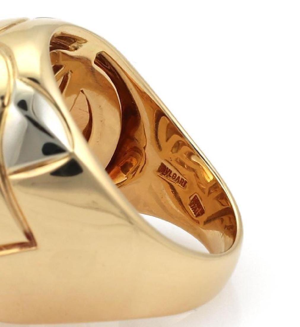Bvlgari Pyramide Citrine 18k Gold Floral Ring - 4