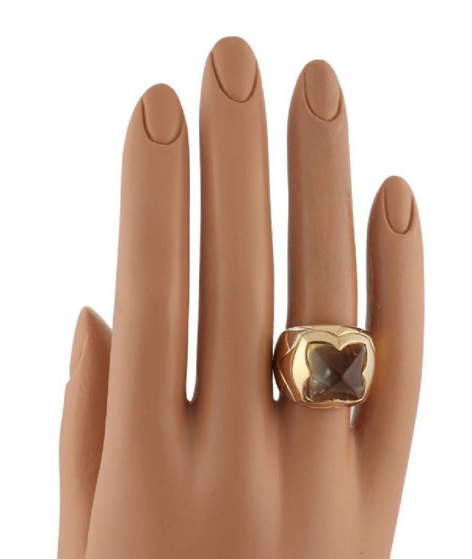 Bvlgari Pyramide Citrine 18k Gold Floral Ring - 6