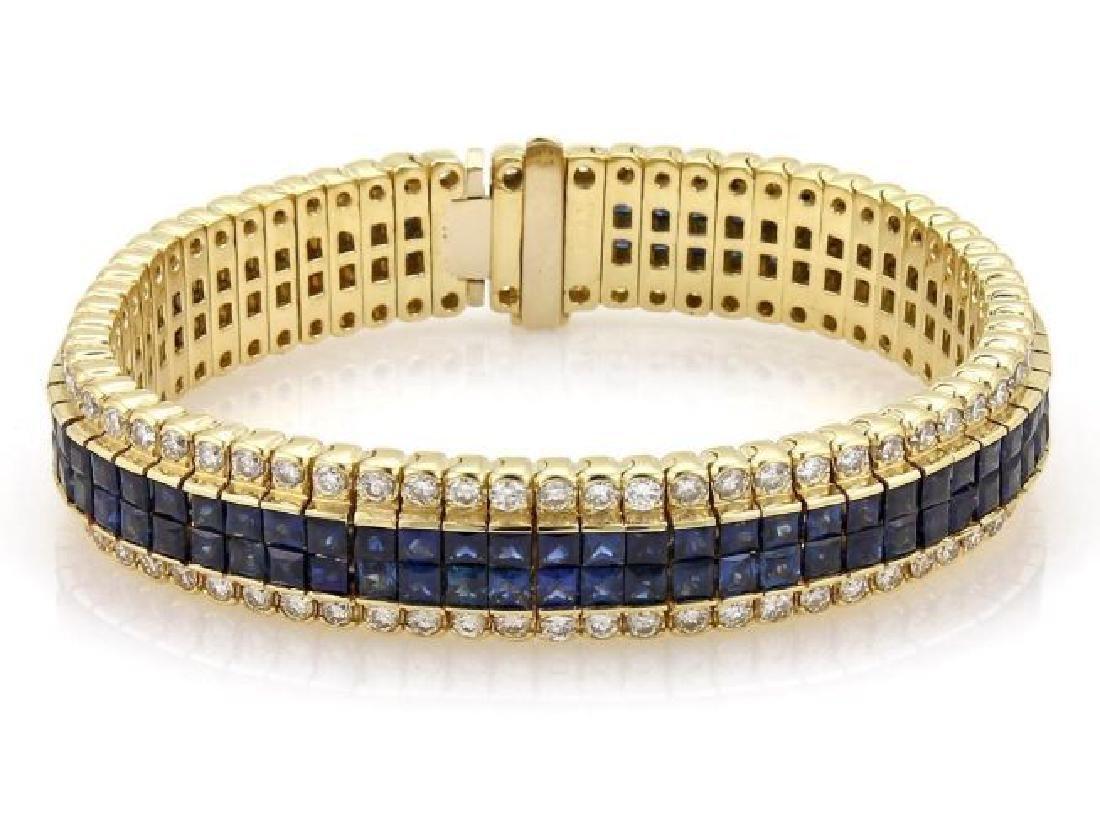 Diamond & Princess Sapphires 18k Gold Bracelet