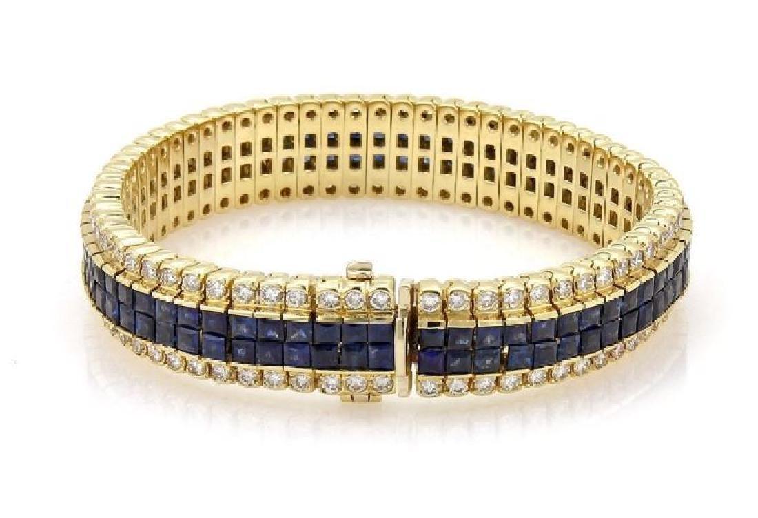 Diamond & Princess Sapphires 18k Gold Bracelet - 2