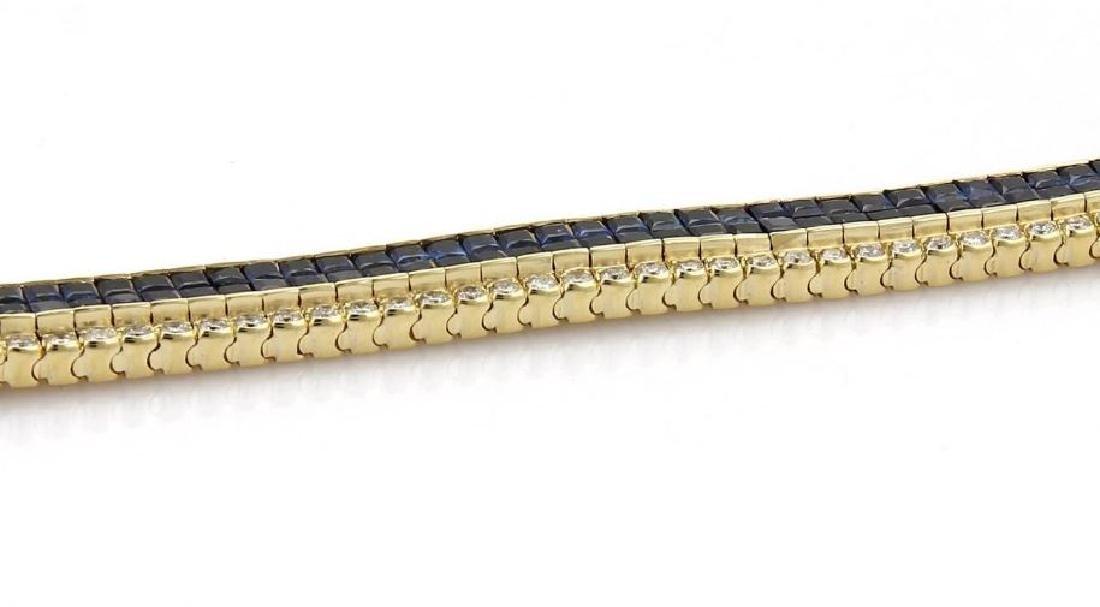 Diamond & Princess Sapphires 18k Gold Bracelet - 3