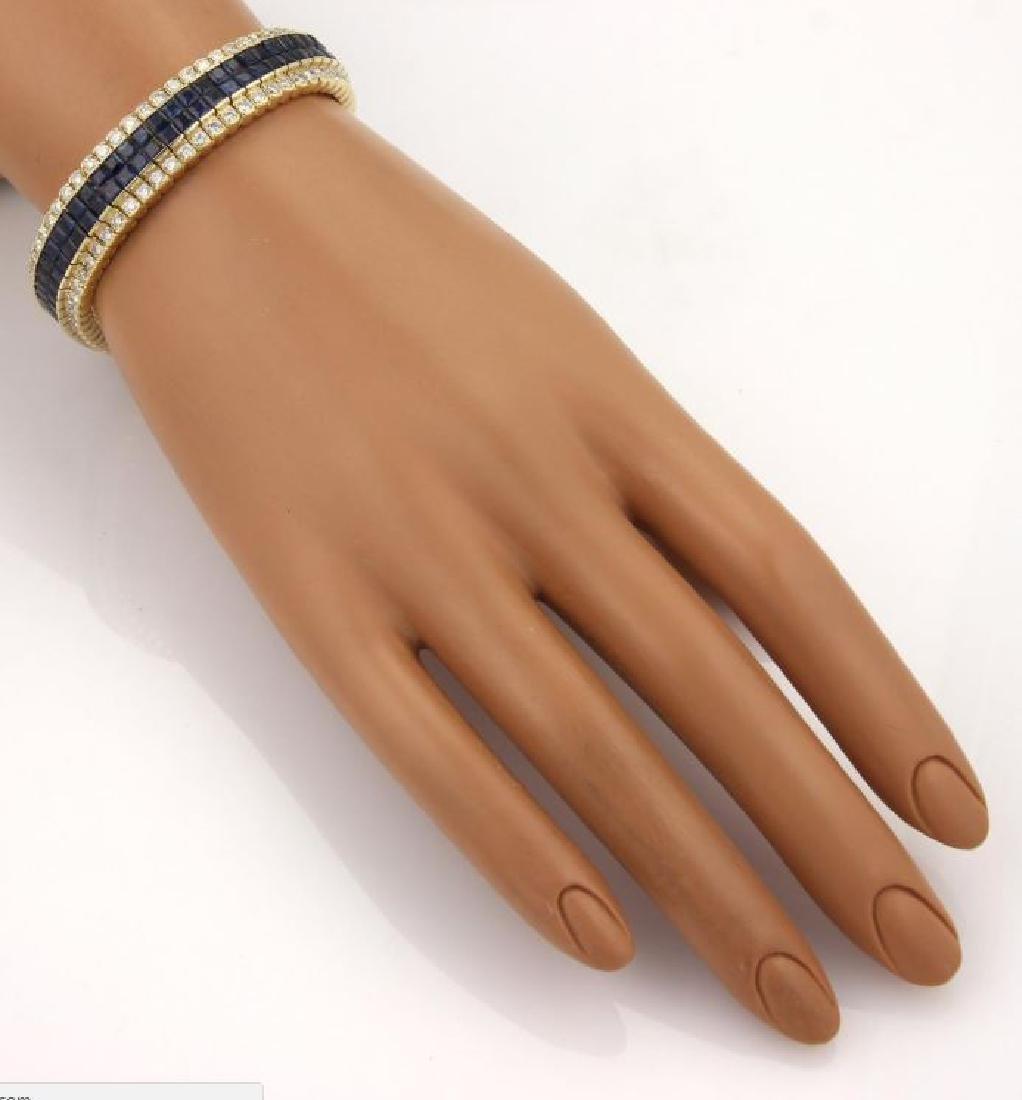 Diamond & Princess Sapphires 18k Gold Bracelet - 4