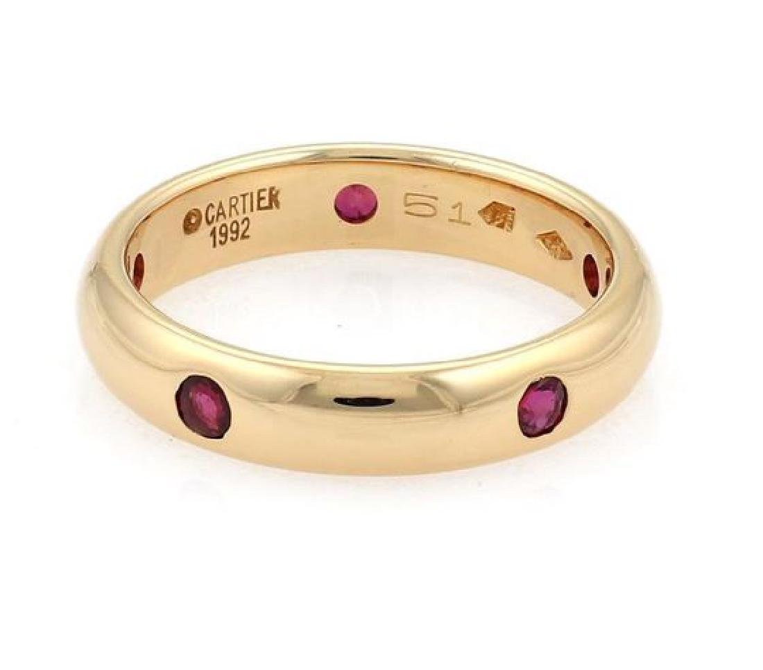 Cartier Stella Ruby 18k Gold 4mm Dome Band Ring - 3